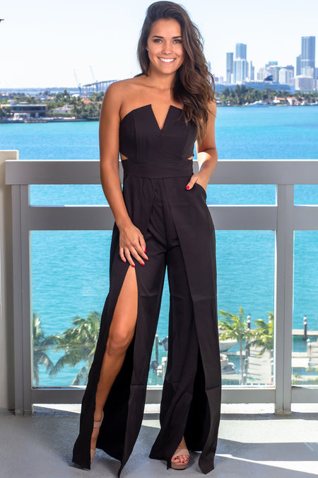 Black Strapless Jumpsuit with Slits