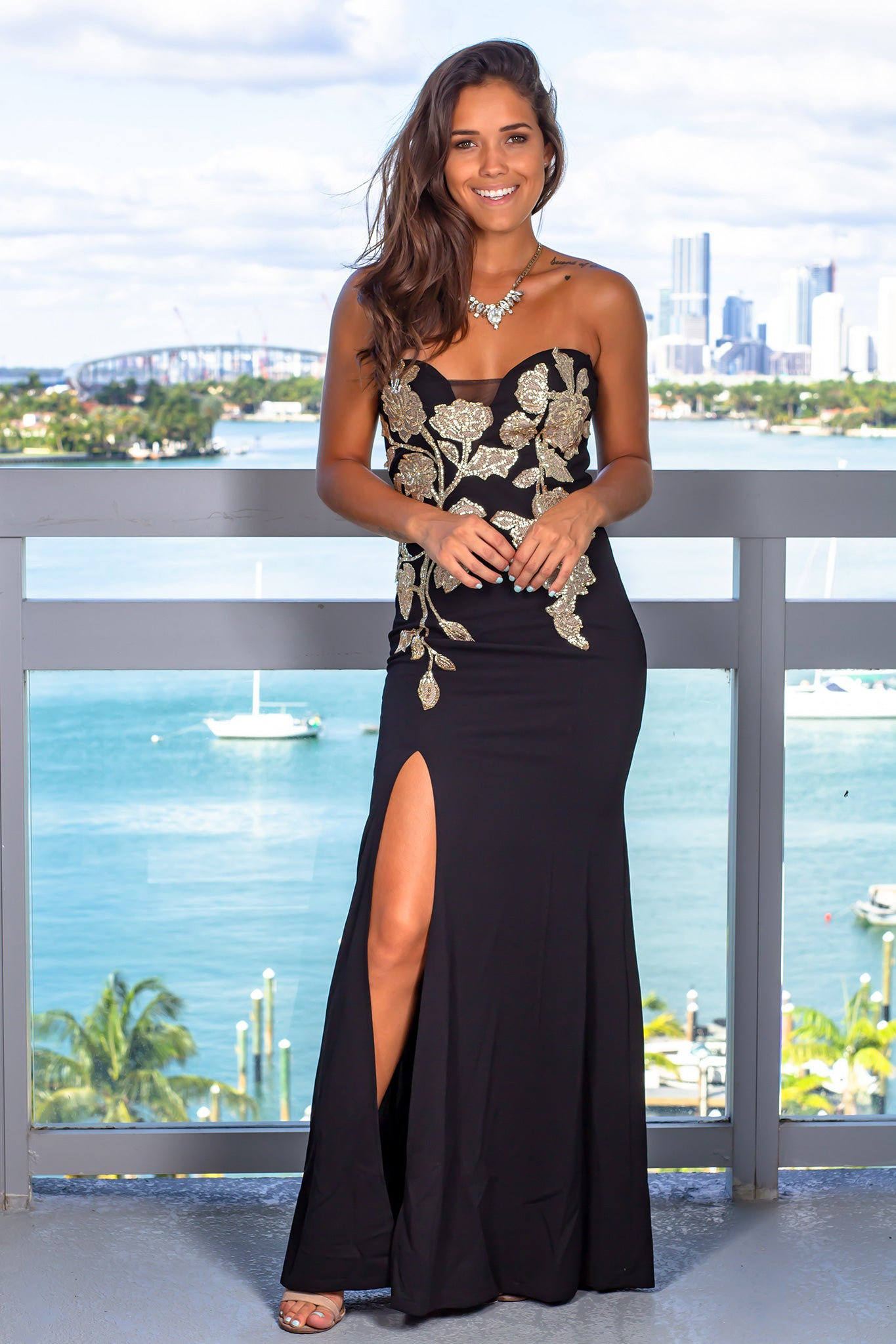 Black Strapless Maxi Dress with Gold Detail