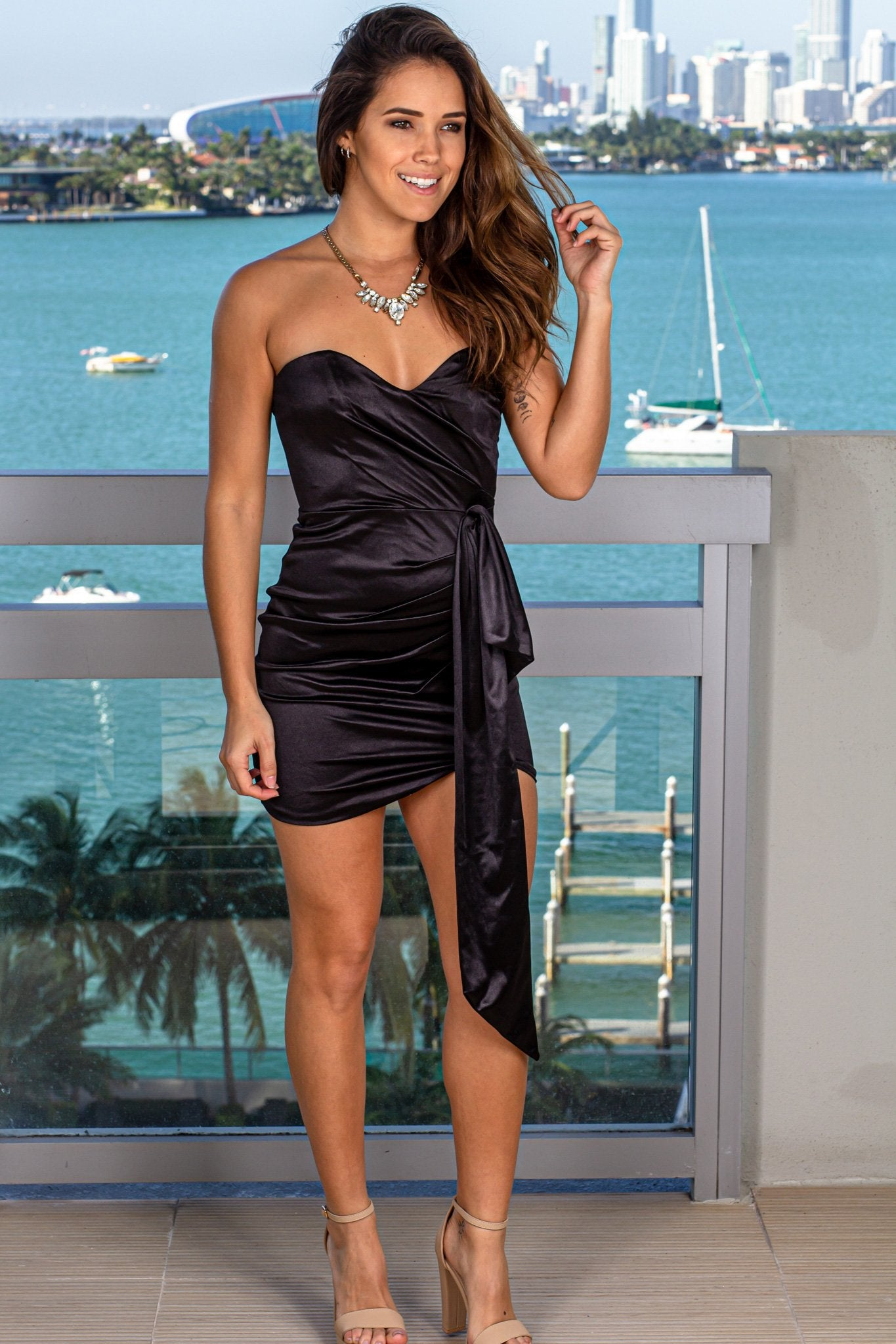Black Strapless Satin Short Dress