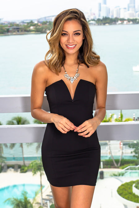 Black Strapless Short Dress