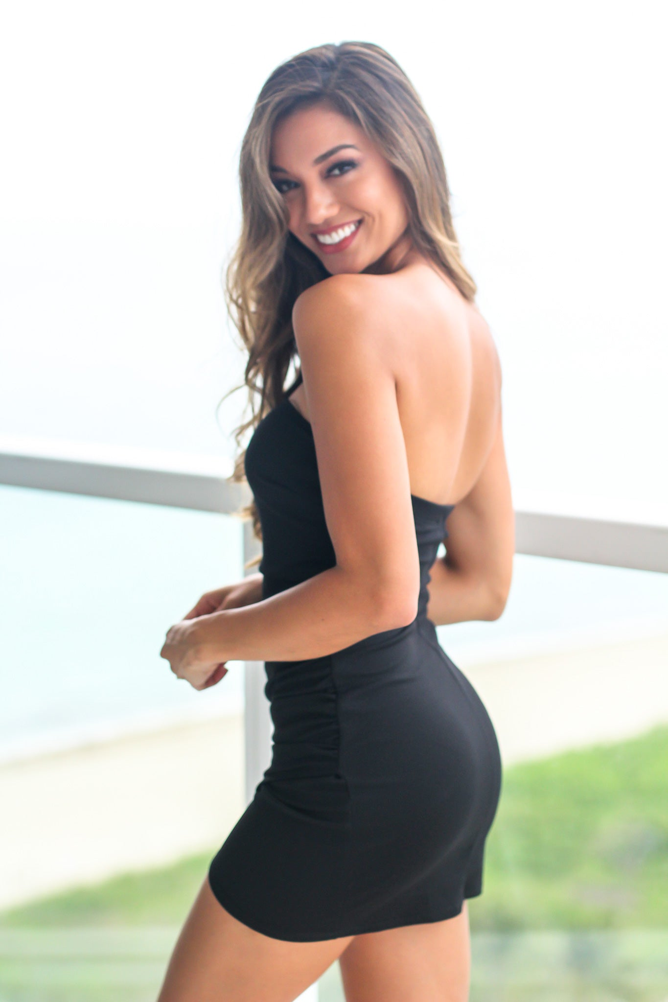 Black Strapless Short Dress with Ruched Side