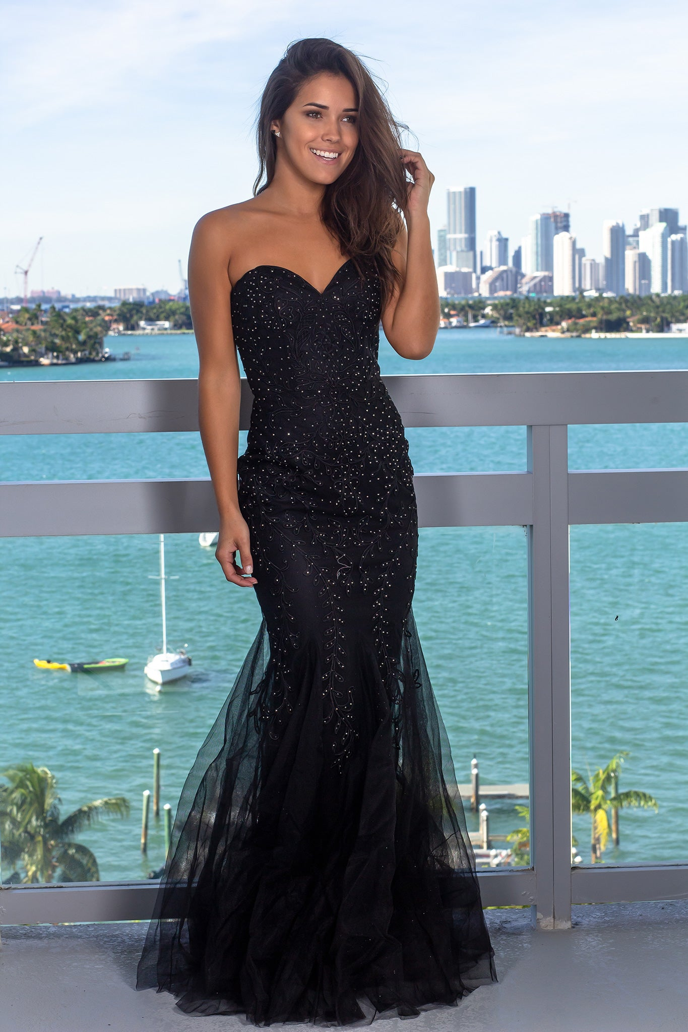 Black Strapless Tulle Maxi Dress