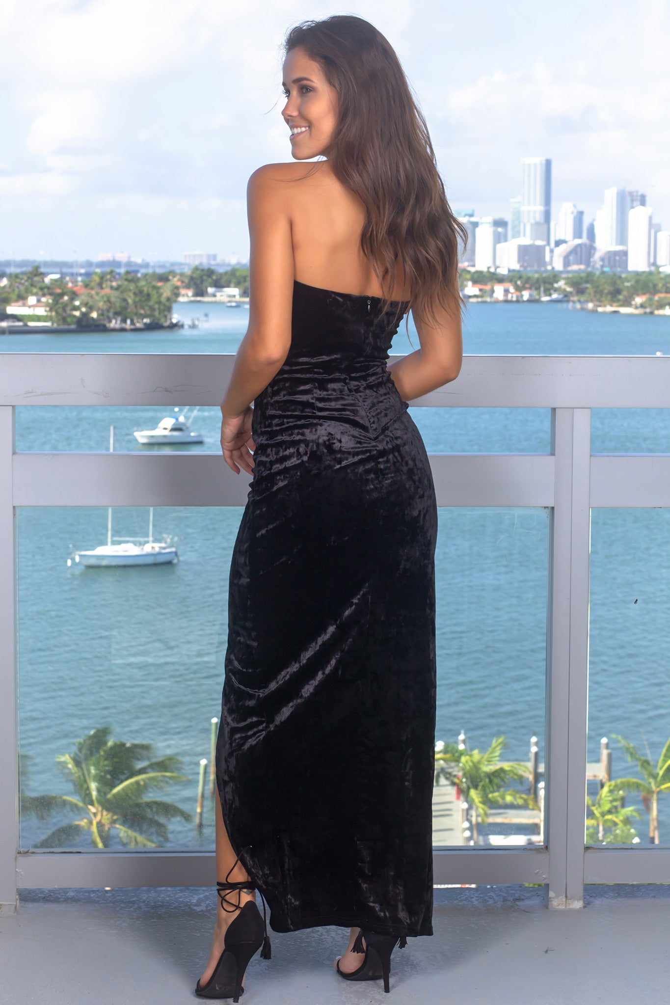 Black Strapless Velvet Maxi Dress