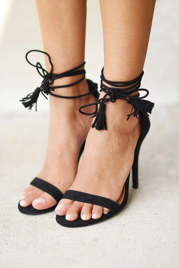 Black Strappy Heels with Tassels