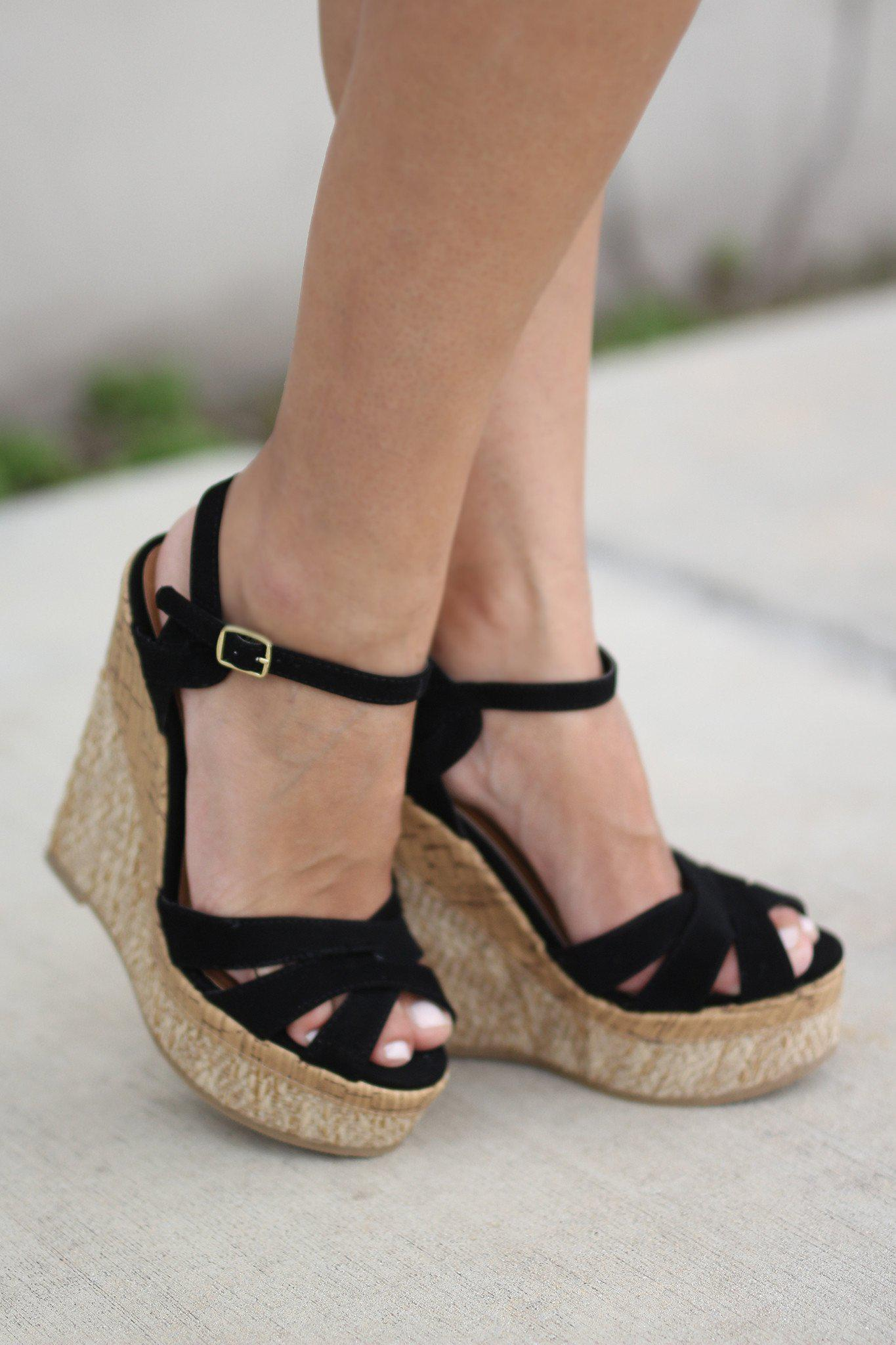 black wedges black shoes strappy wedges � saved by the