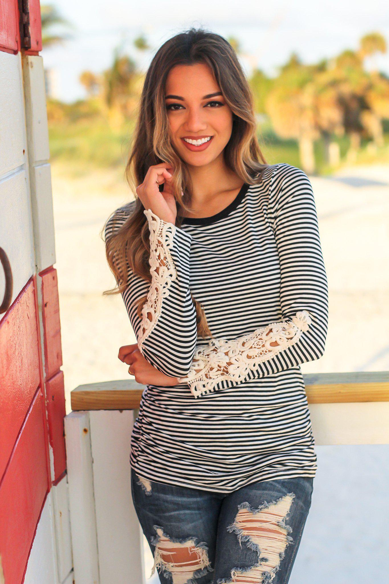 Black Striped Long Sleeve Top with Crochet Sleeves