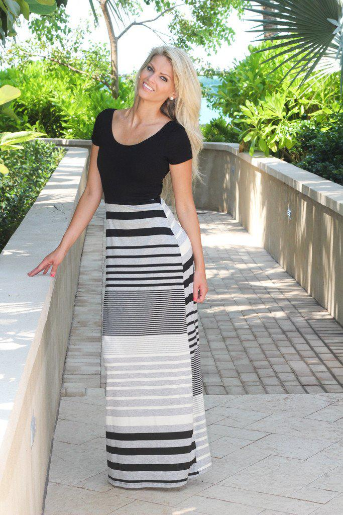 Saved by the dress black and gray maxi