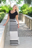 Black And Gray Striped Maxi Dress With Criss Cross Back