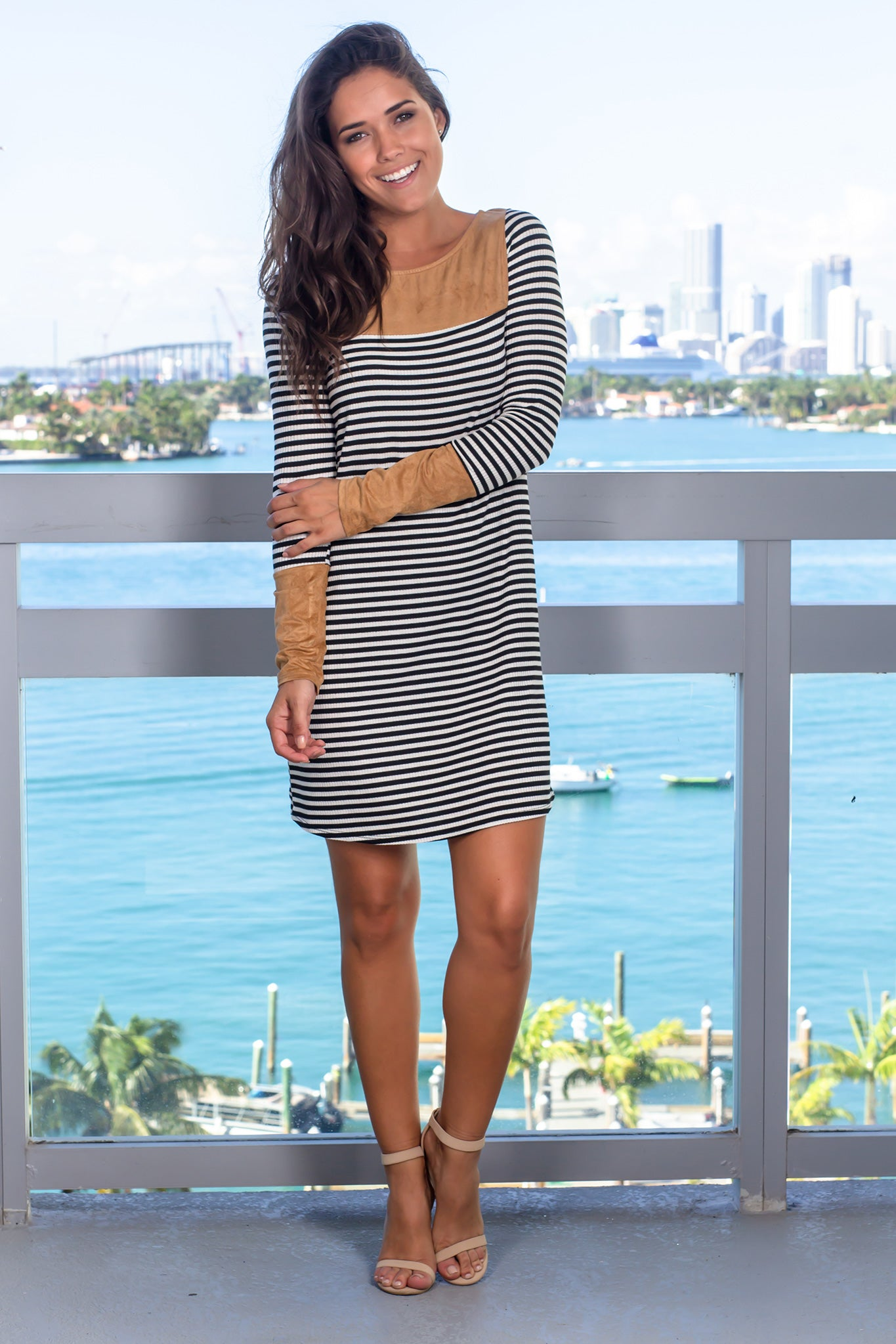 Black Striped Short Dress with Suede Detail