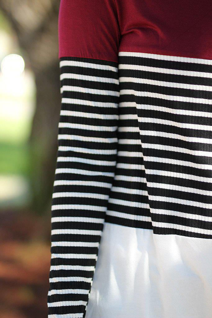 Black and Burgundy Striped Top
