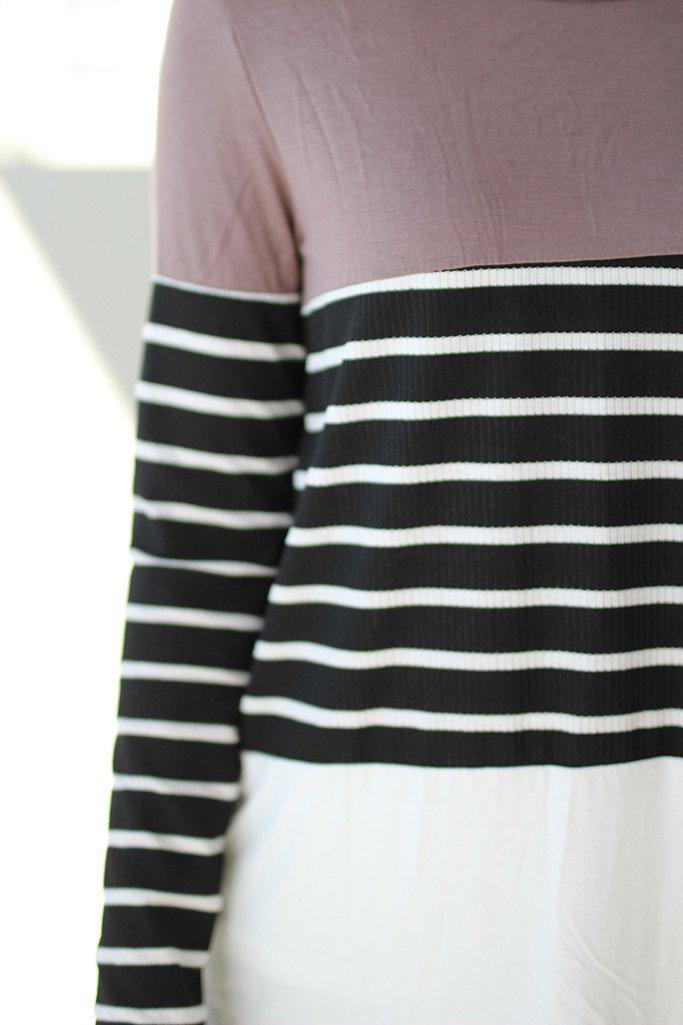 Taupe and Black Striped Top