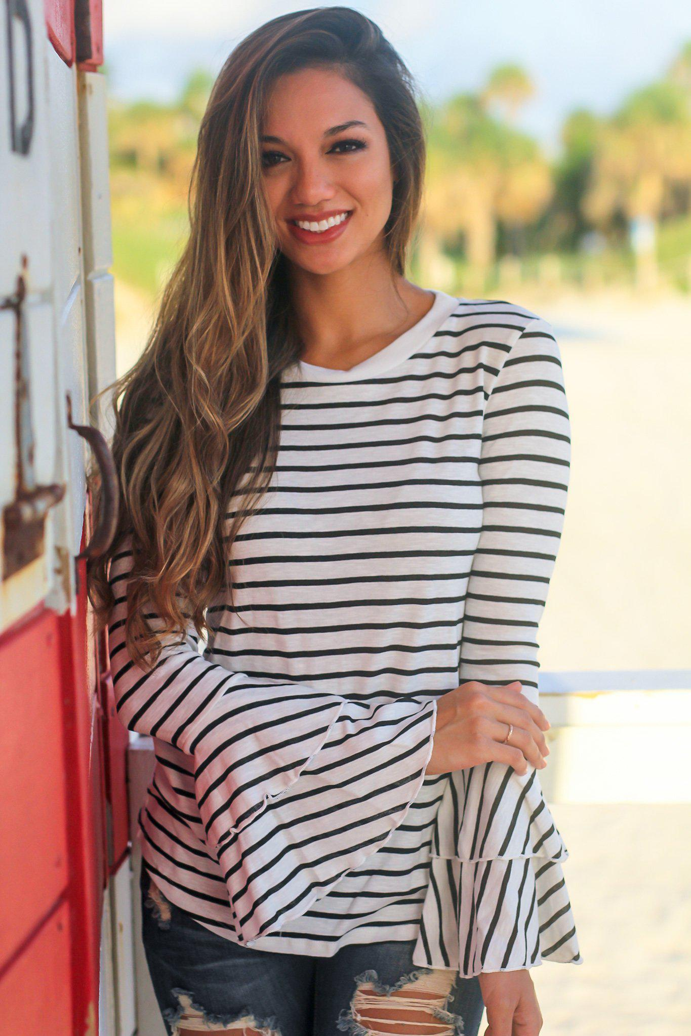 Black Striped Top with Bell Sleeves