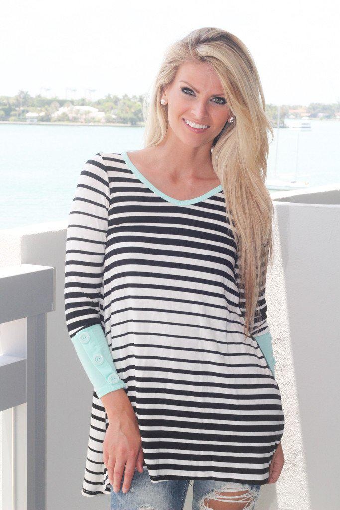 Black Striped Tunic With Mint Trim