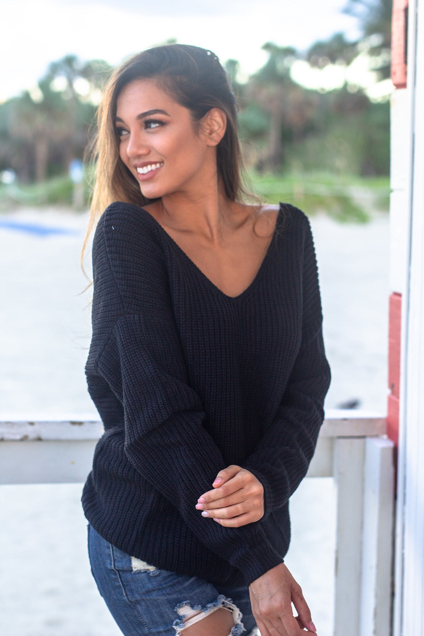 Black Sweater with Knot