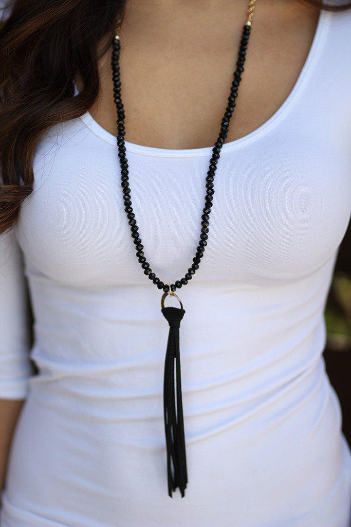 Black Beaded Tassel Necklace