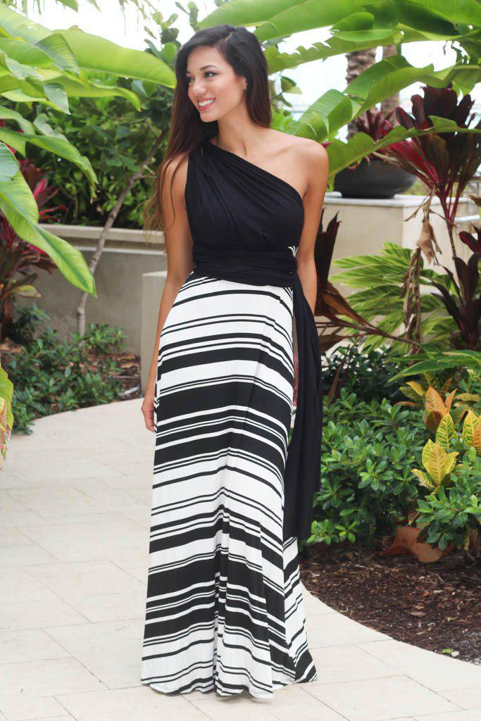 black and white tie back maxi dress
