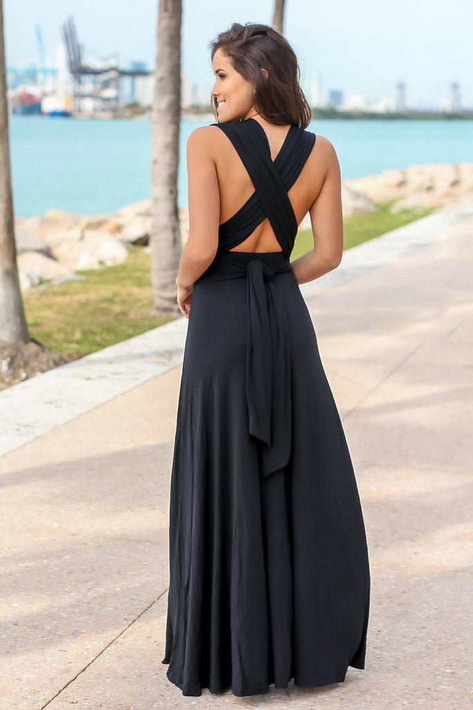 Black Tie Maxi Dress with Open Back