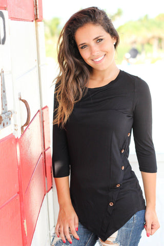 Black Top With ¾ Sleeves And Buttons