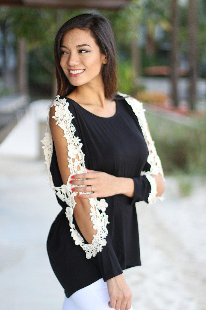 Black Top With Crochet Open Sleeves