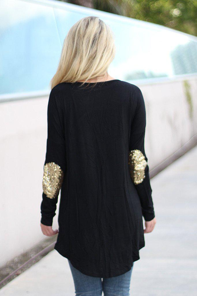 Black Top with Sequin Elbow Patches