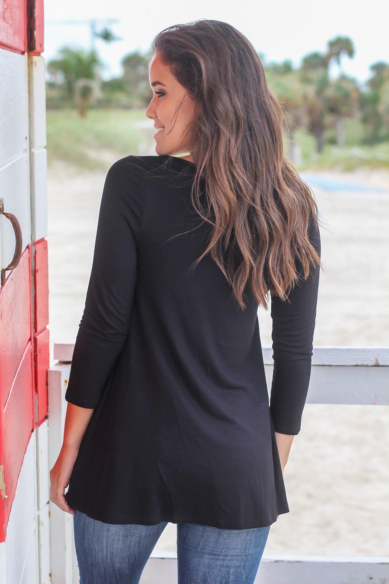 Black Top with Buttons and 3/4 Sleeves