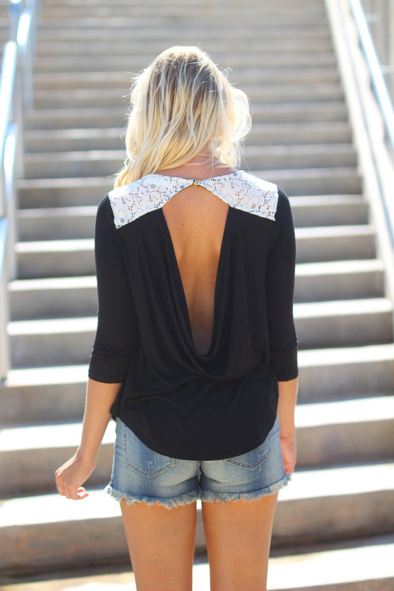 Black Open Back Top with Lace Detail