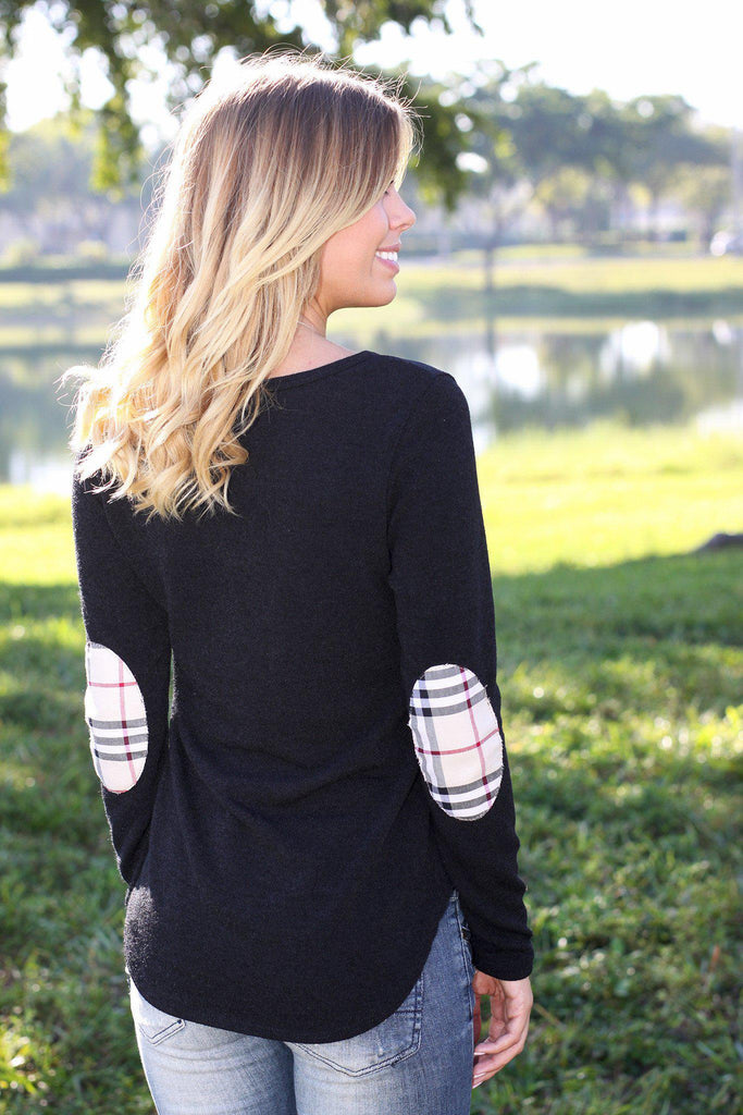 black patched sweater top