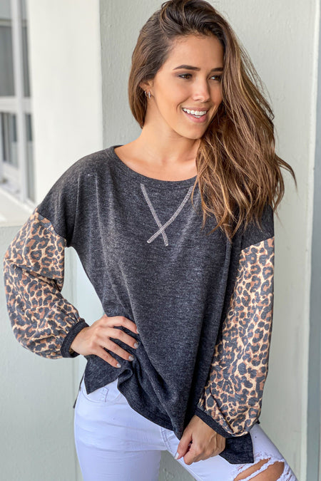 Black Top with Puffed Leopard Sleeves