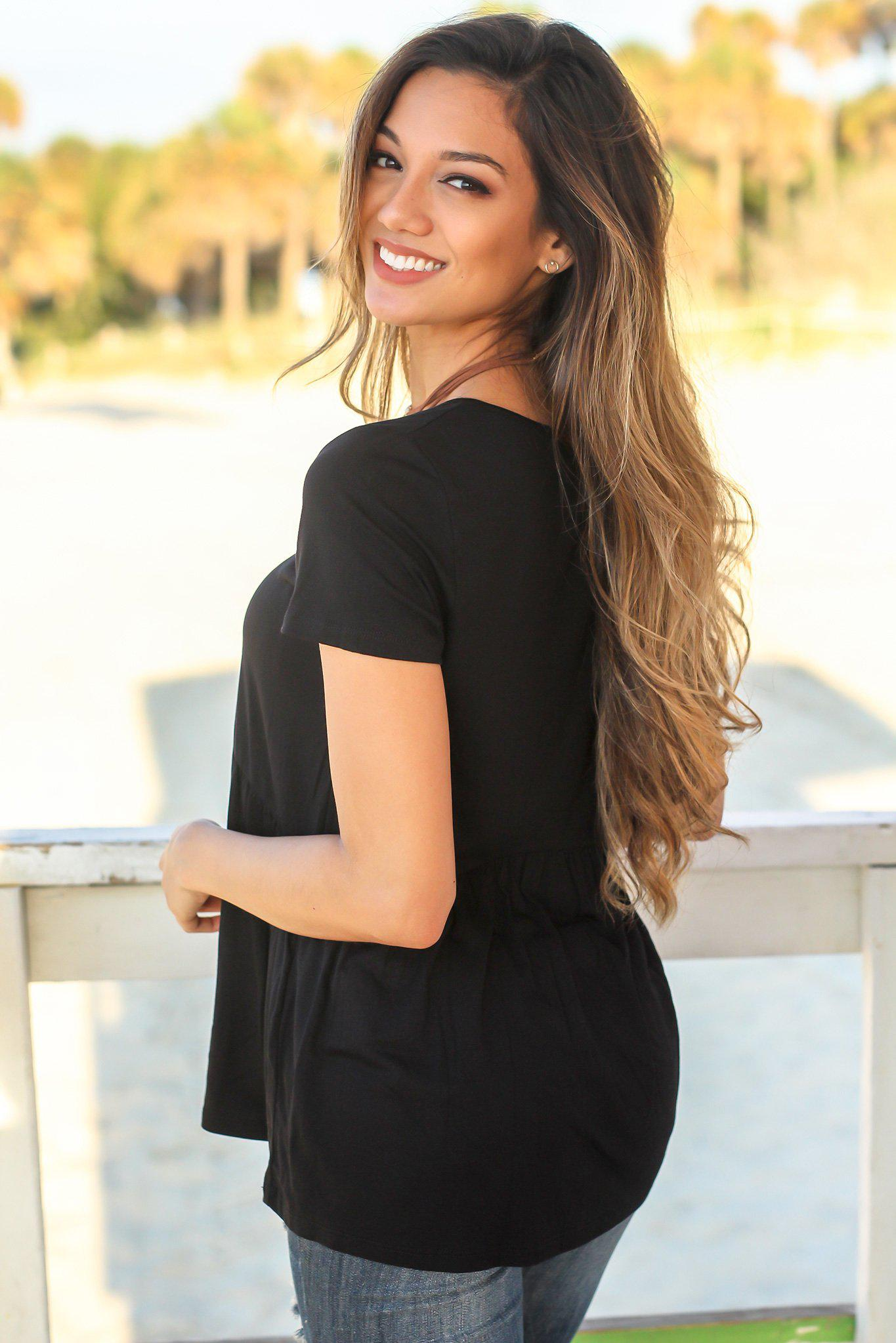 Black Top with Ruffle Bottom
