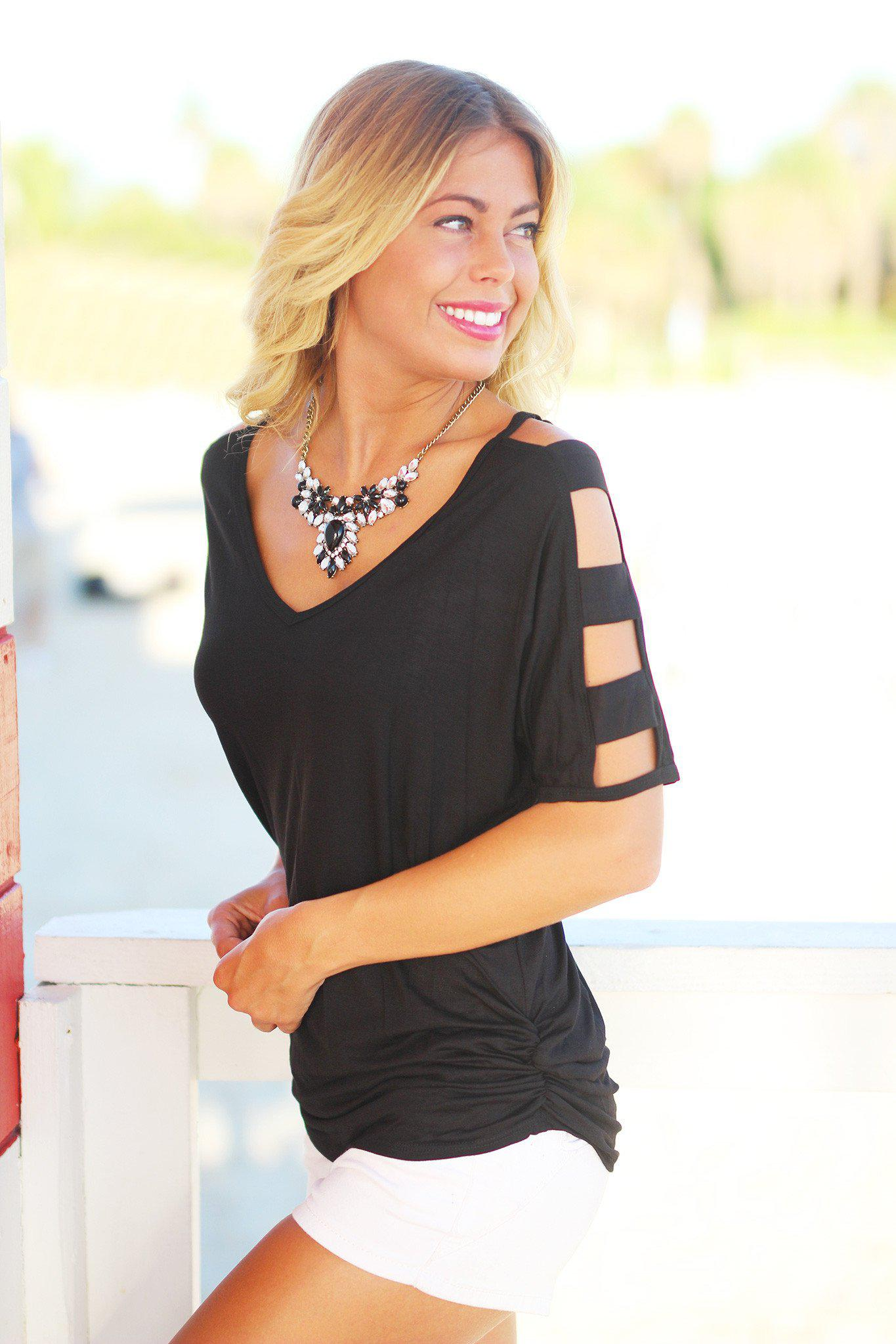 Black Top with Strap Detail Sleeves