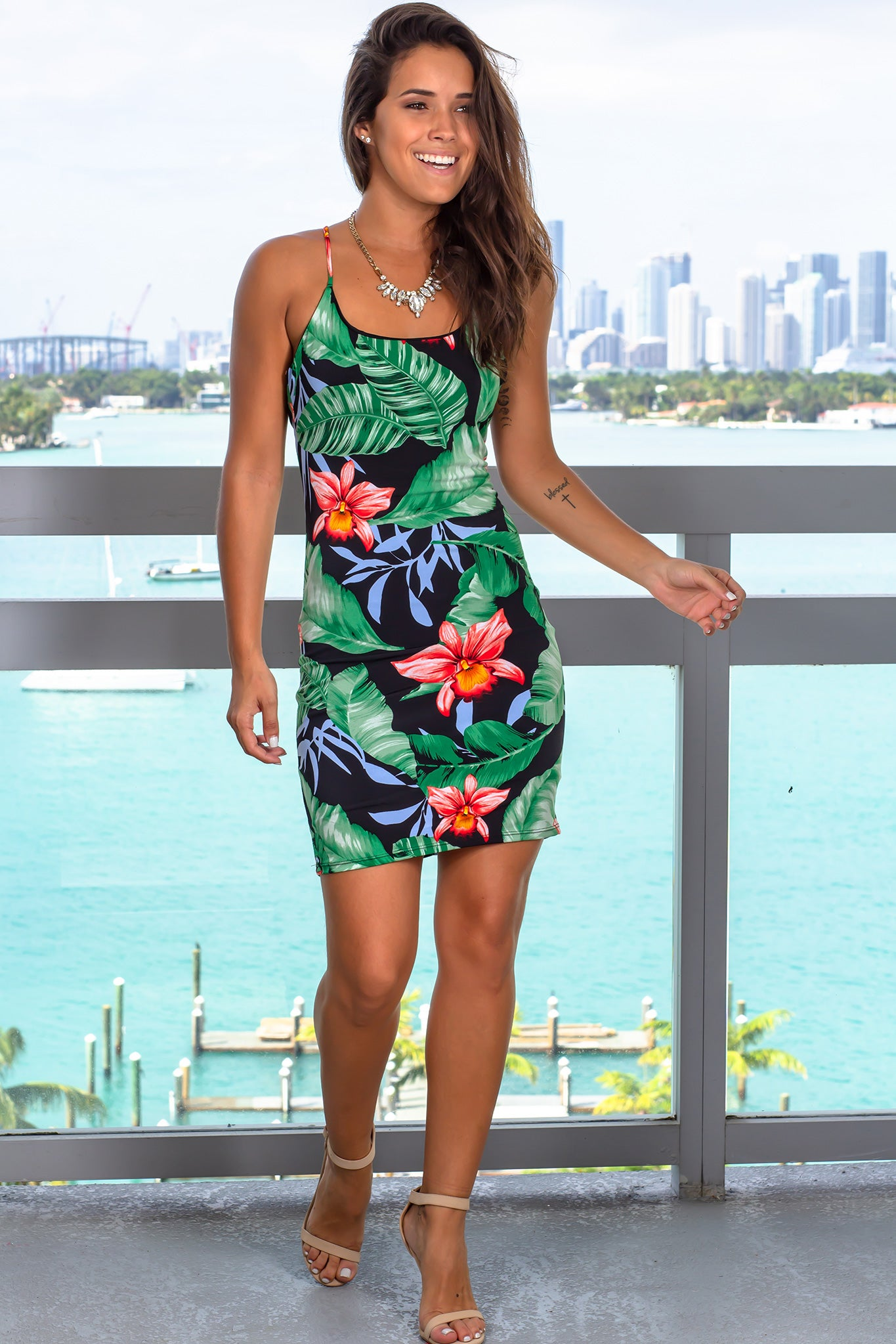 Black Tropical Short Dress with Criss Cross Back