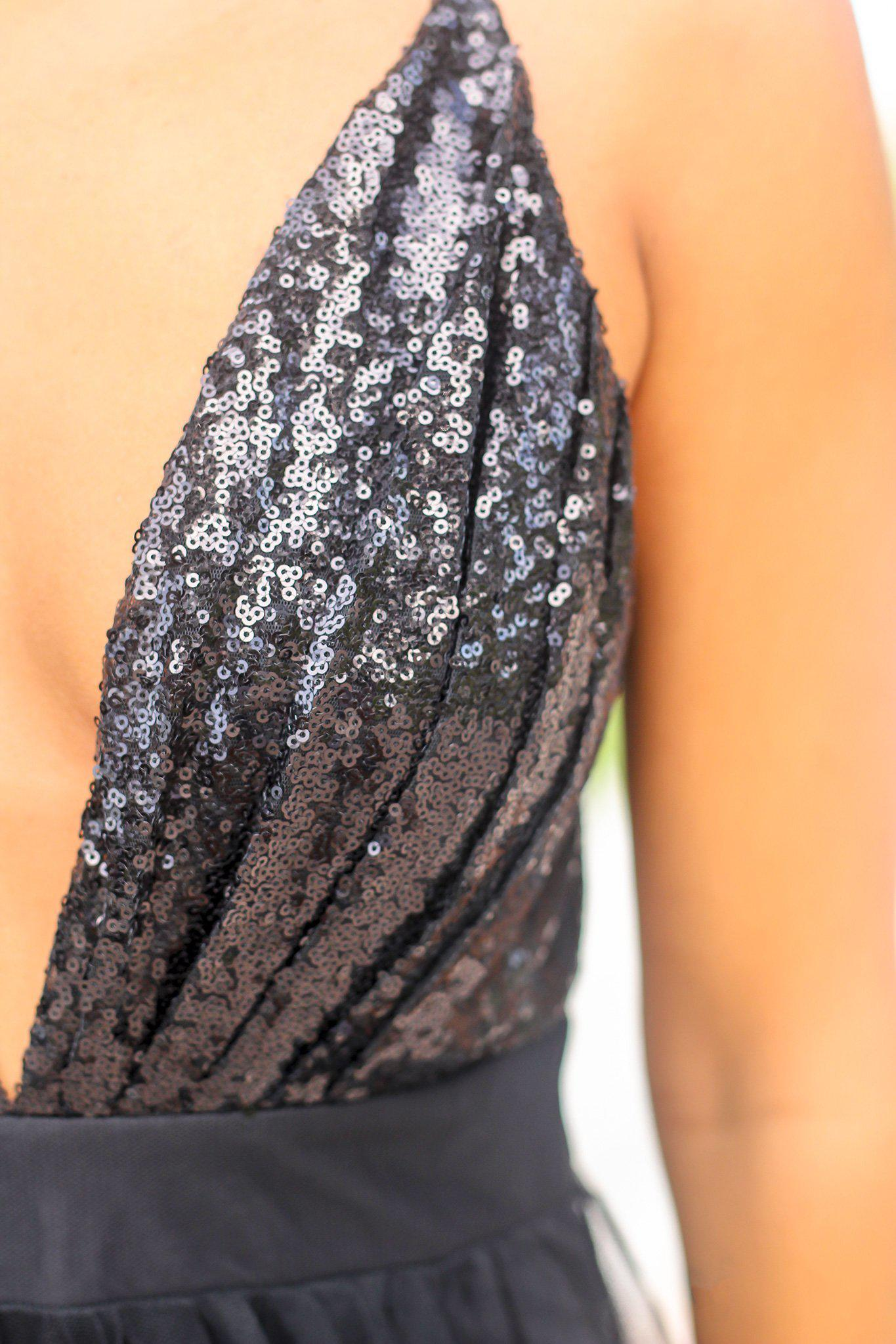 Black Tulle Maxi Dress with Sequin Top and Criss Cross Back