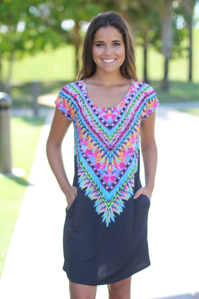 Black Tribal Tunic Dress with Pockets