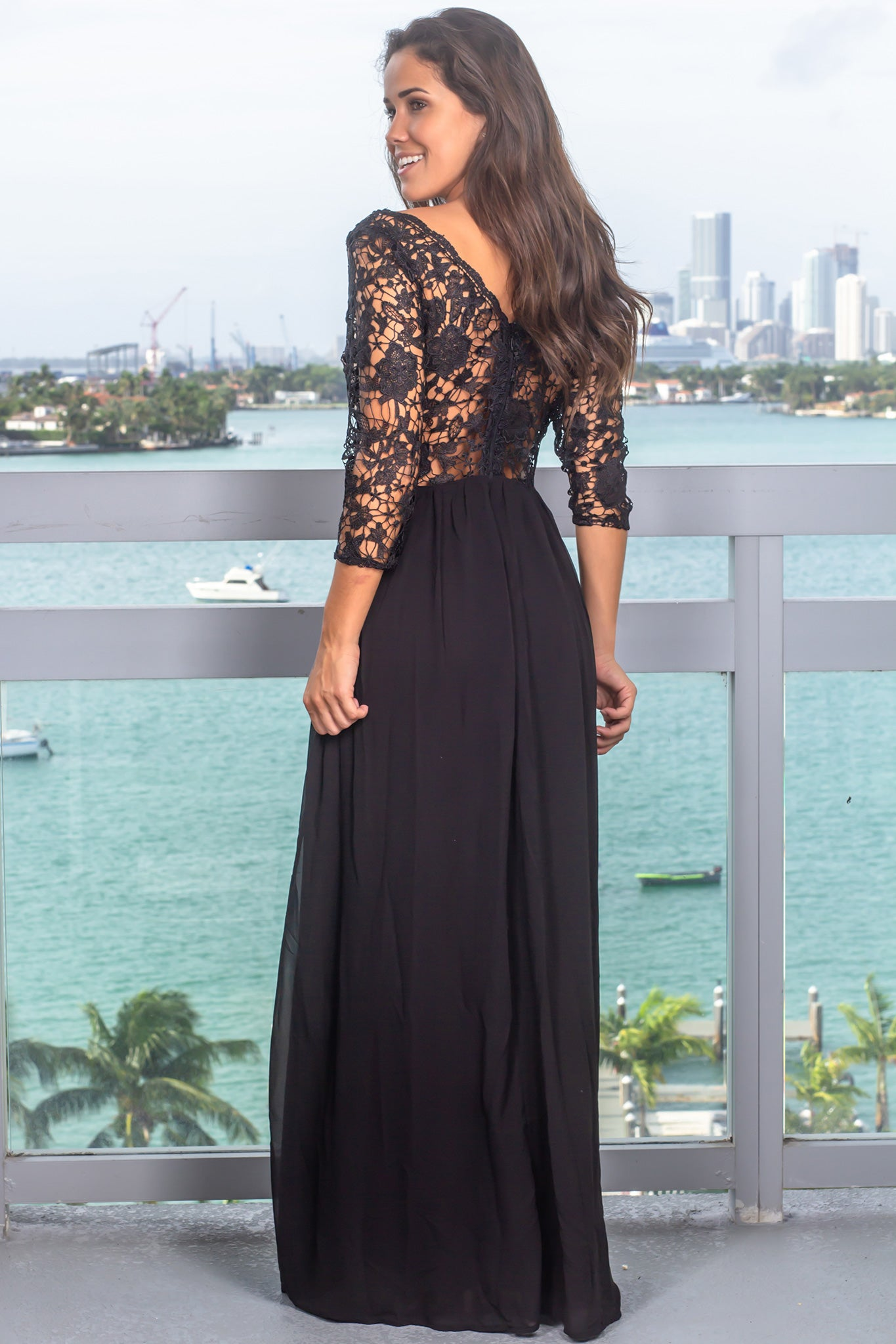Black V-Neck Embroidered Top Maxi Dress with 3/4 Sleeves