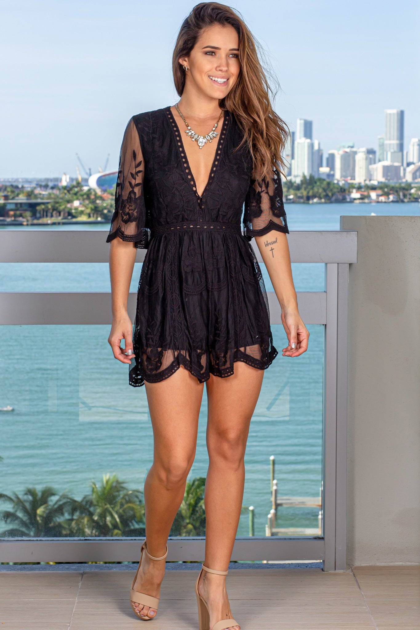 Black V-Neck Lace Romper