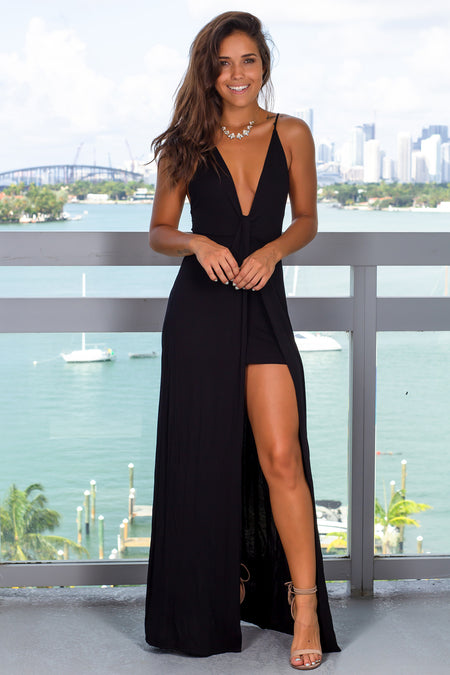 Black V-Neck Maxi Dress with Criss Cross Back
