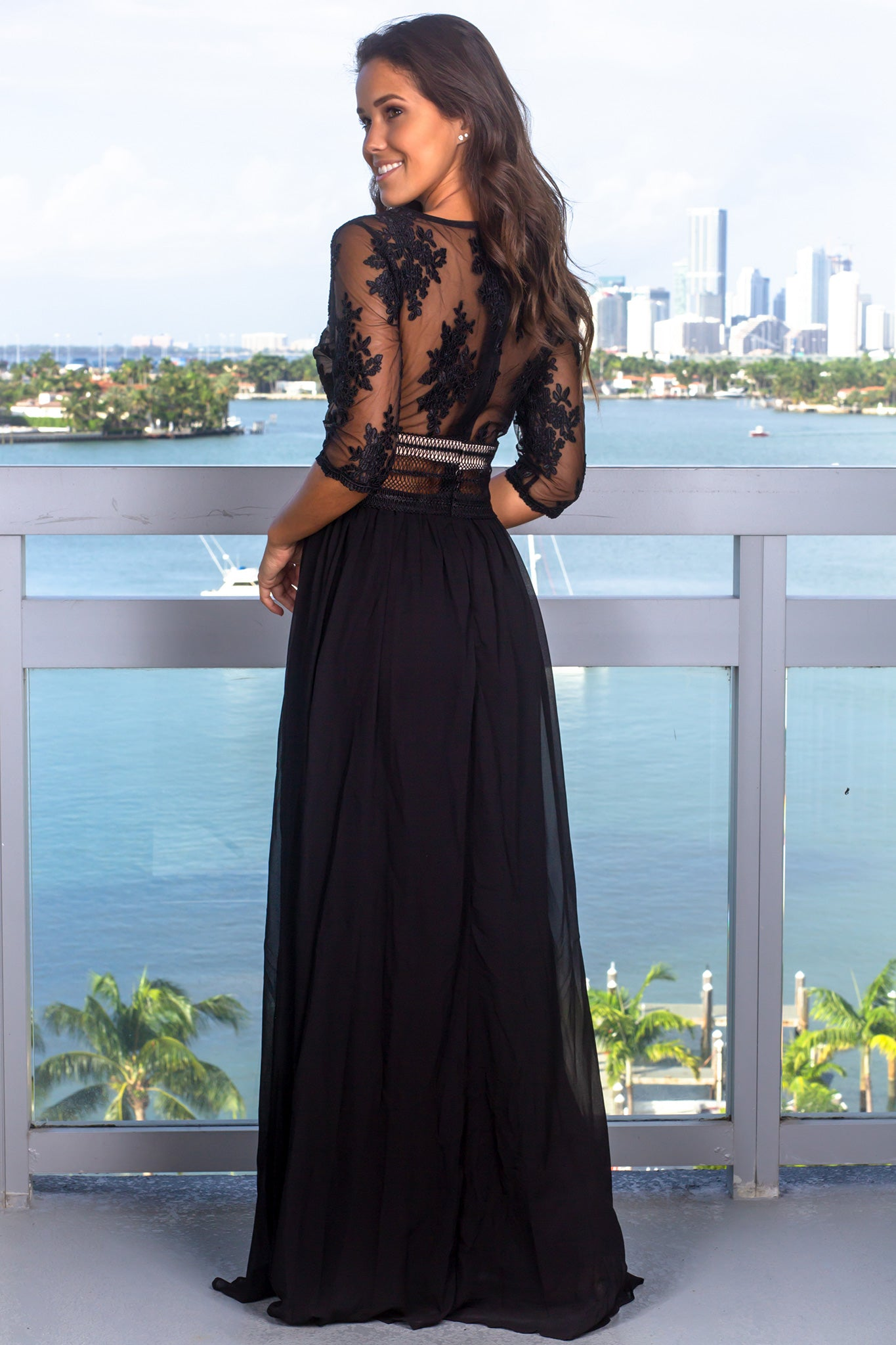 Black V-Neck Maxi Dress with Mesh Embroidered Sleeves