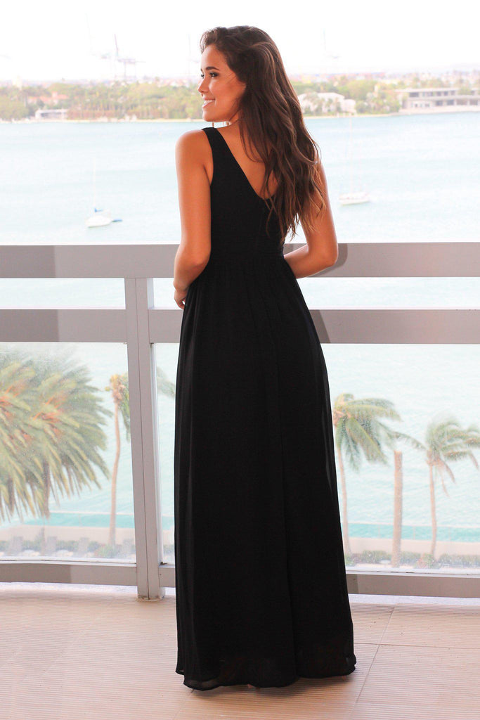 Black V-Neck Maxi Dress with Pleated Top