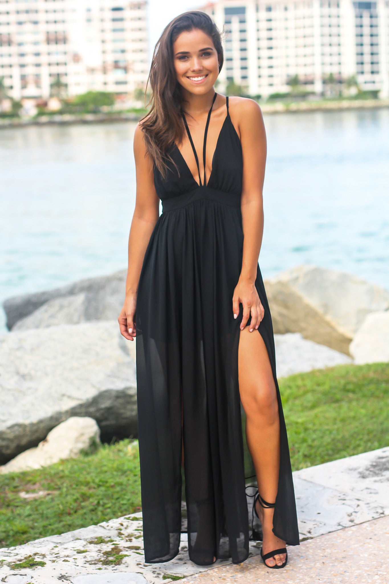 Black V-Neck Maxi Dress with Tie Neck