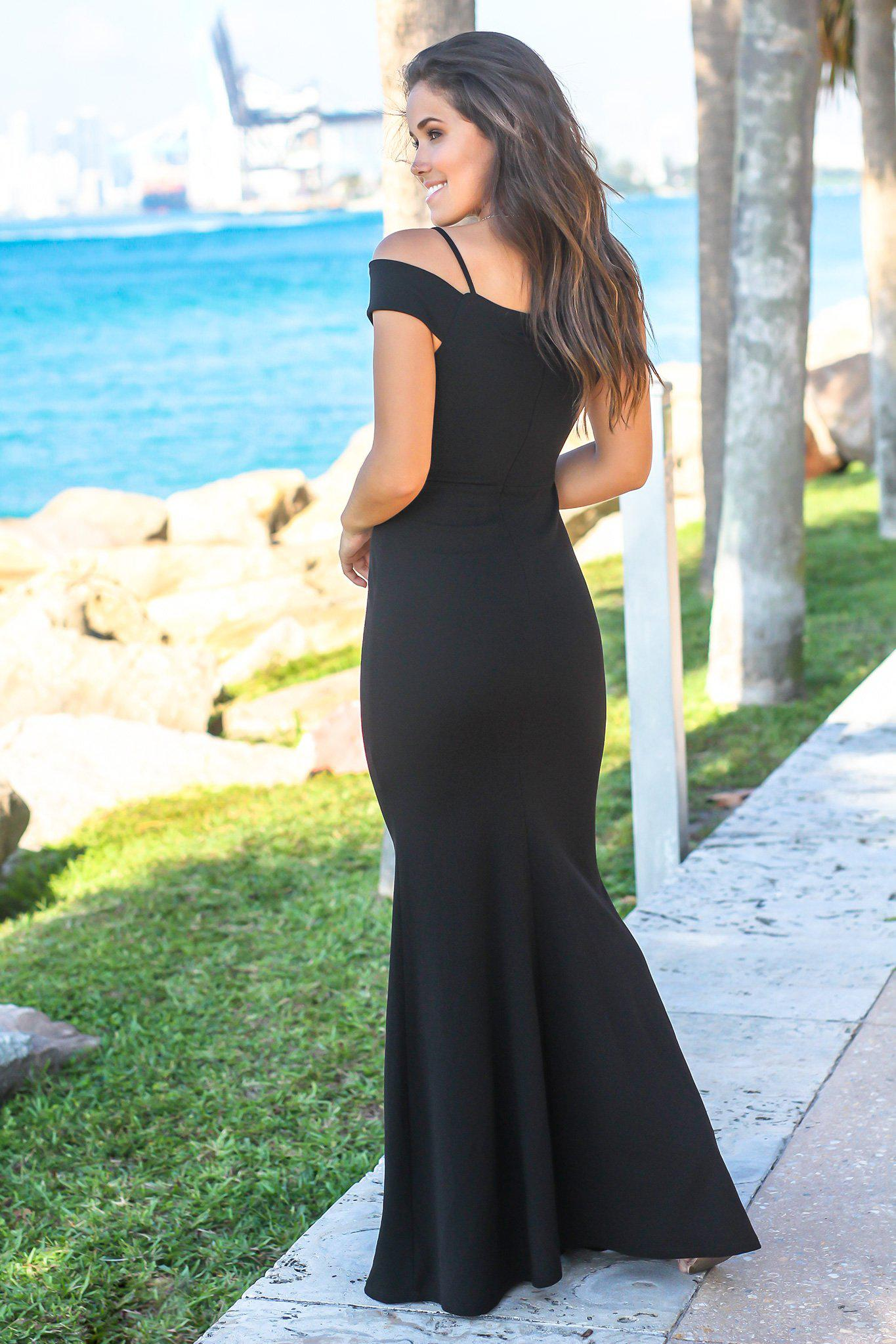 Black V-Neck Off Shoulder Maxi Dress