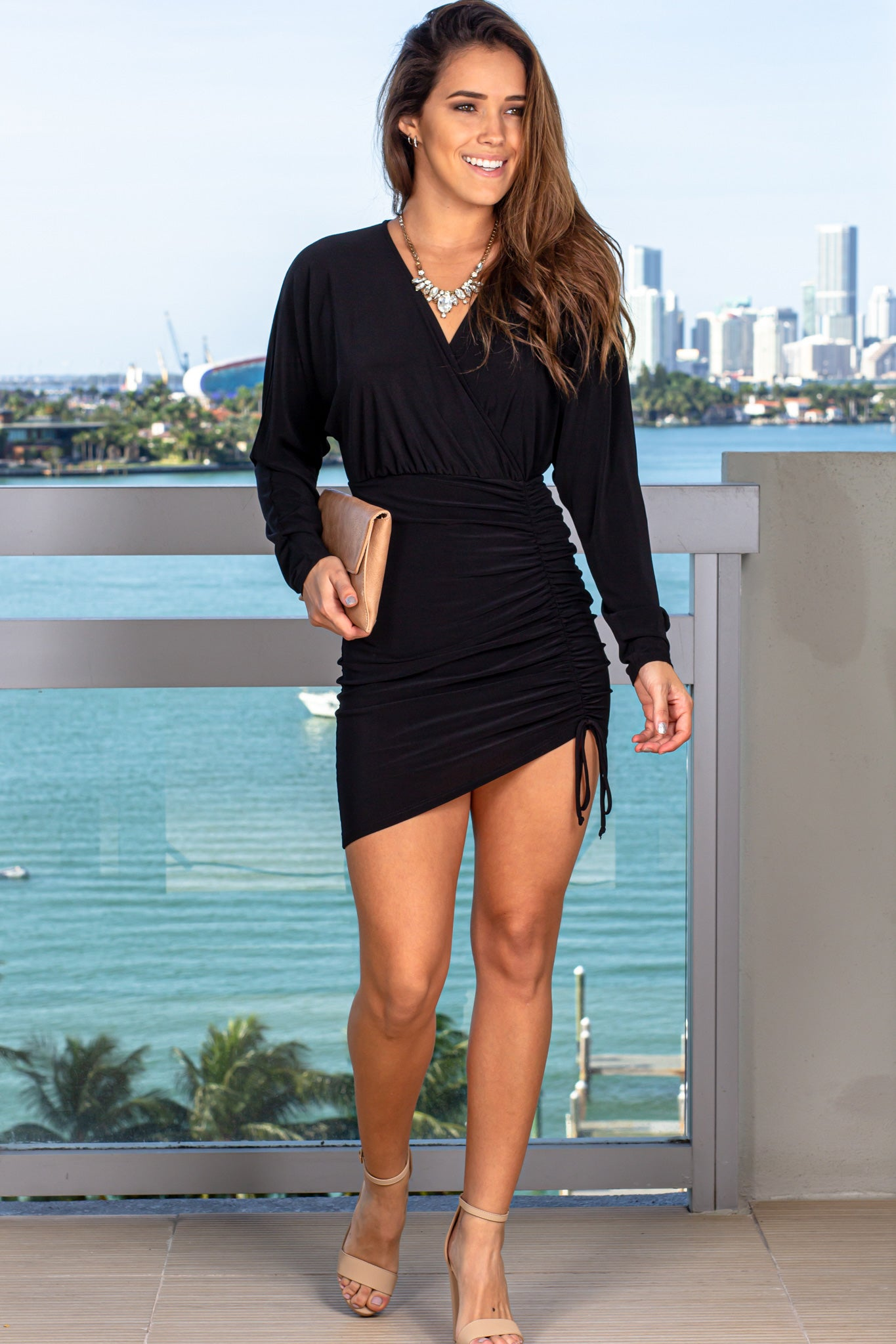 Black V-Neck Short Dress with Long Sleeves