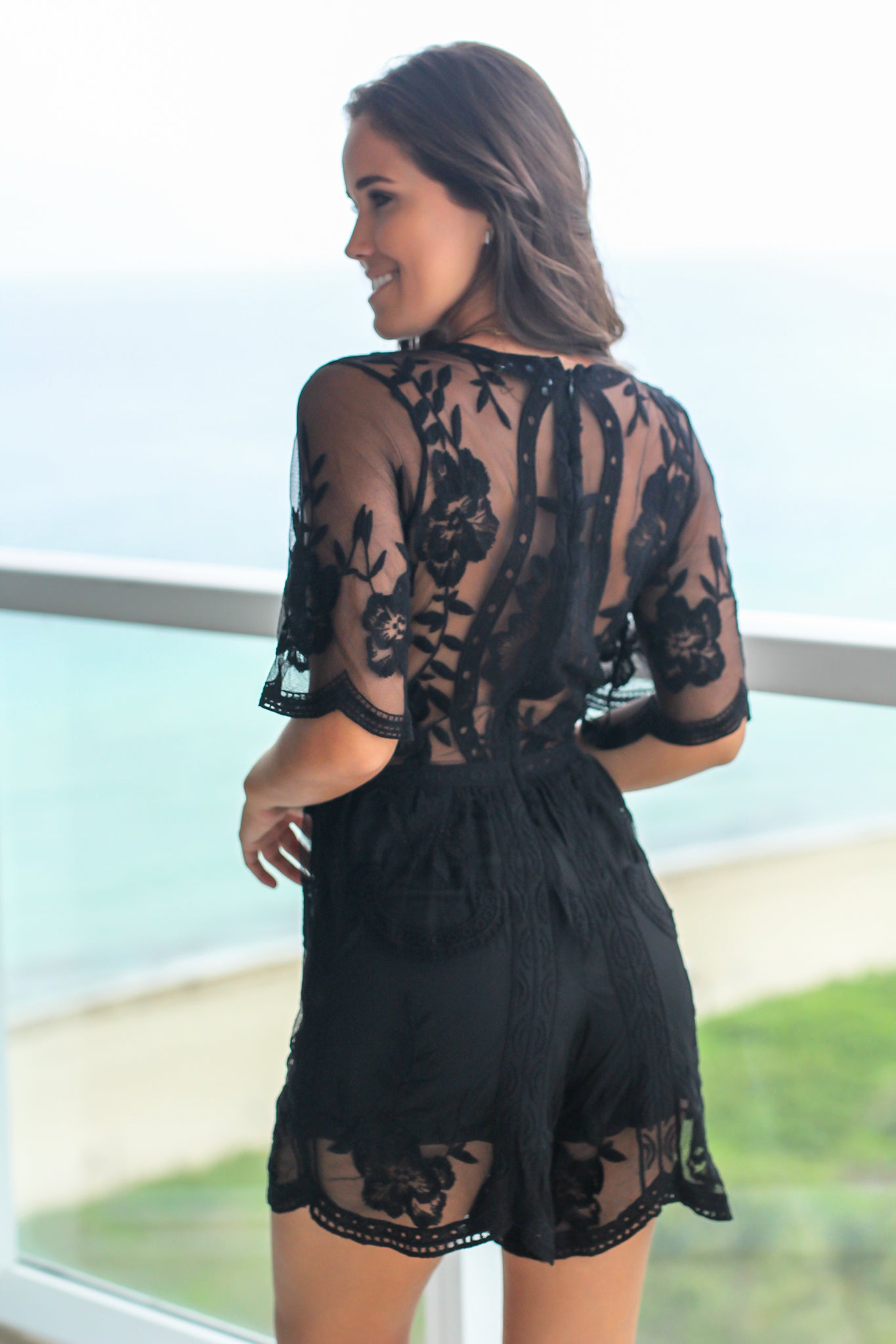 Black V-Neck Short Lace Romper