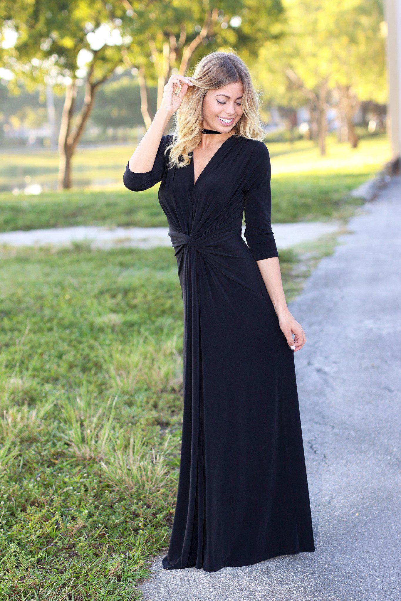 black 3/4 sleeve long dress