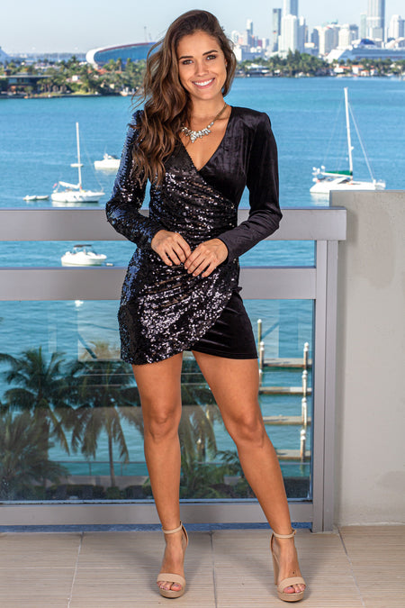 Black Velvet Sequin Short Dress