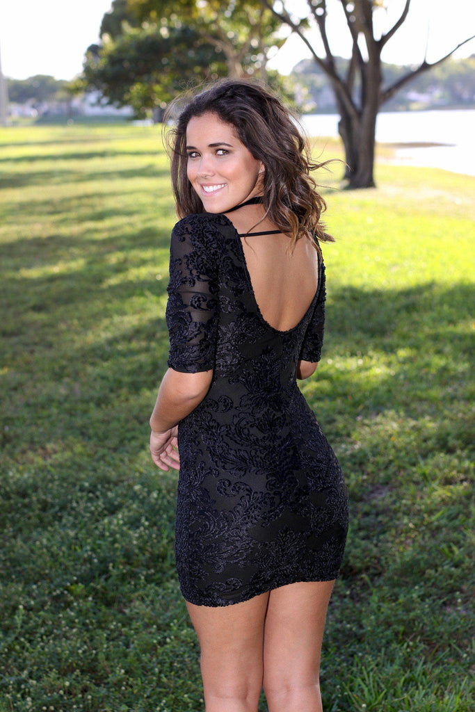 black open back short dress
