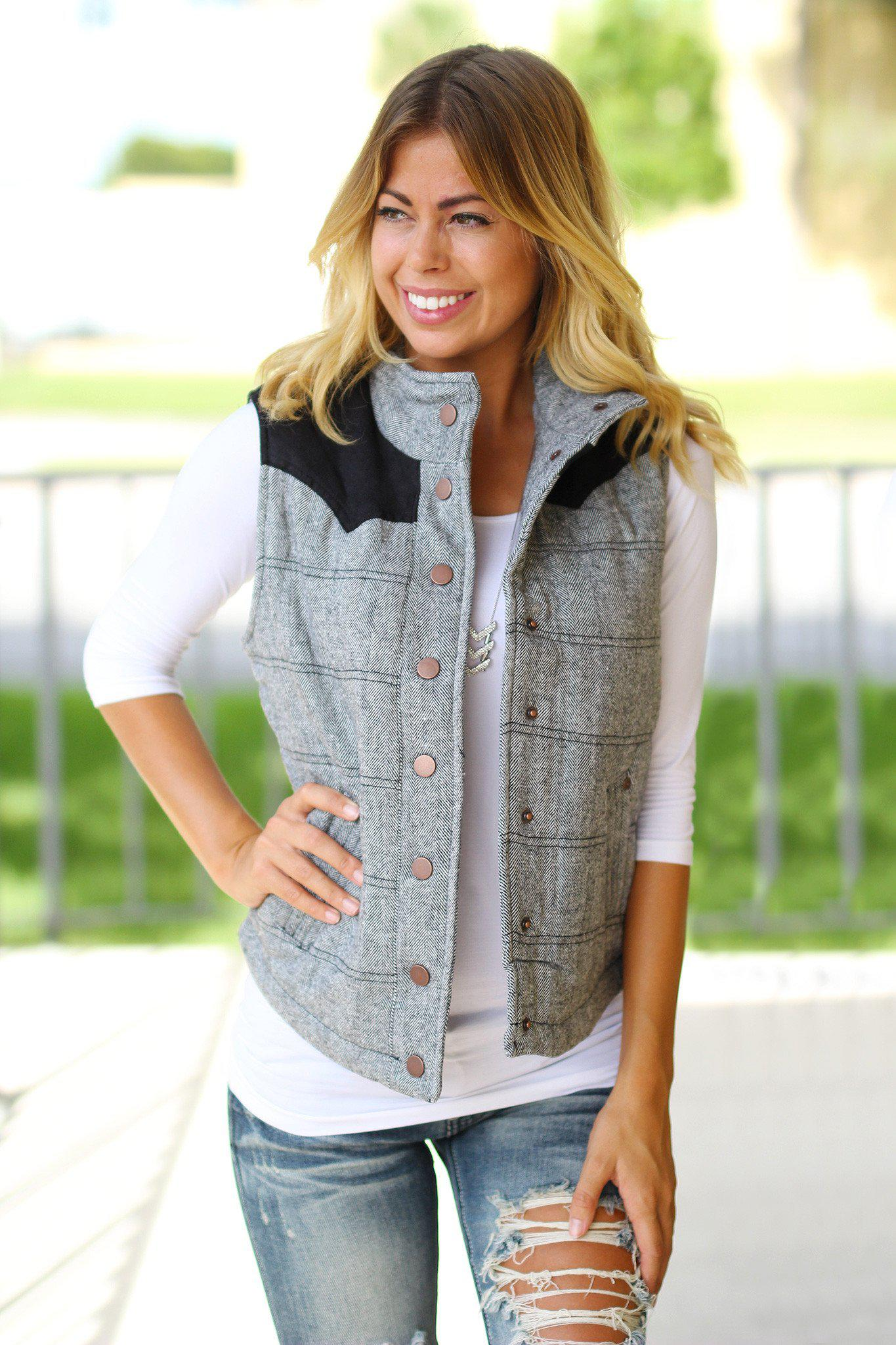 Black Button Vest