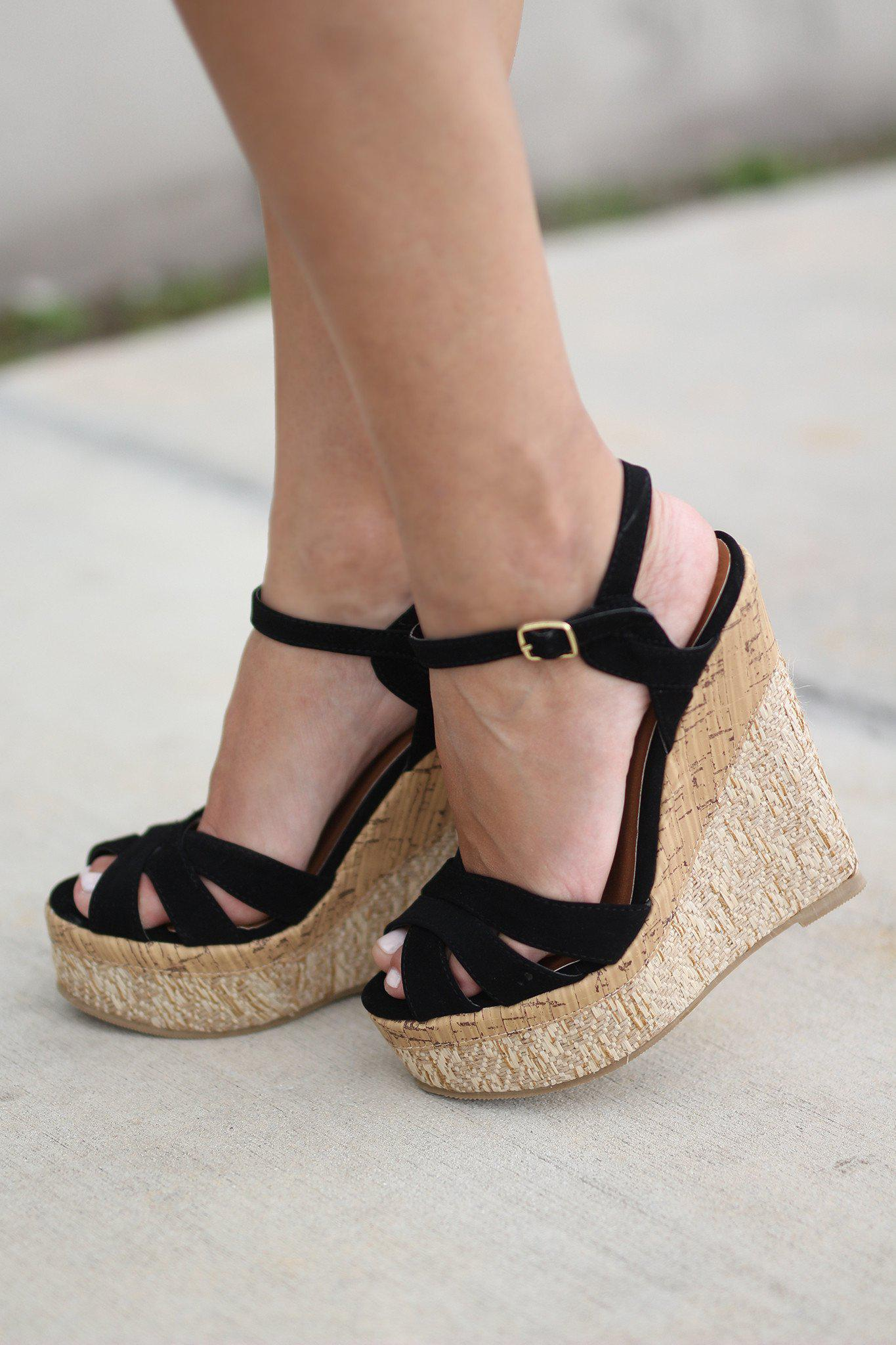 Black Wedges | Black Shoes | Strappy Wedges – Saved by the ...