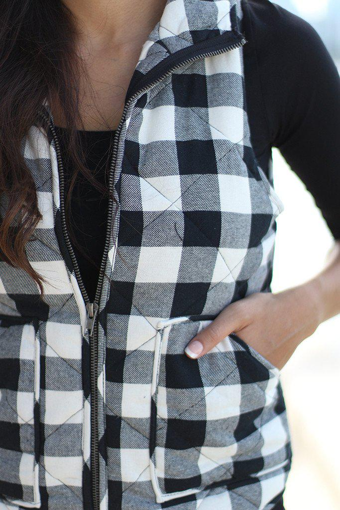 Black And White Padded Vest With Pocket