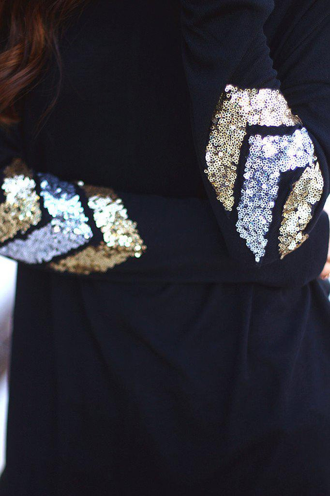 black chevron sequins on sleeves top