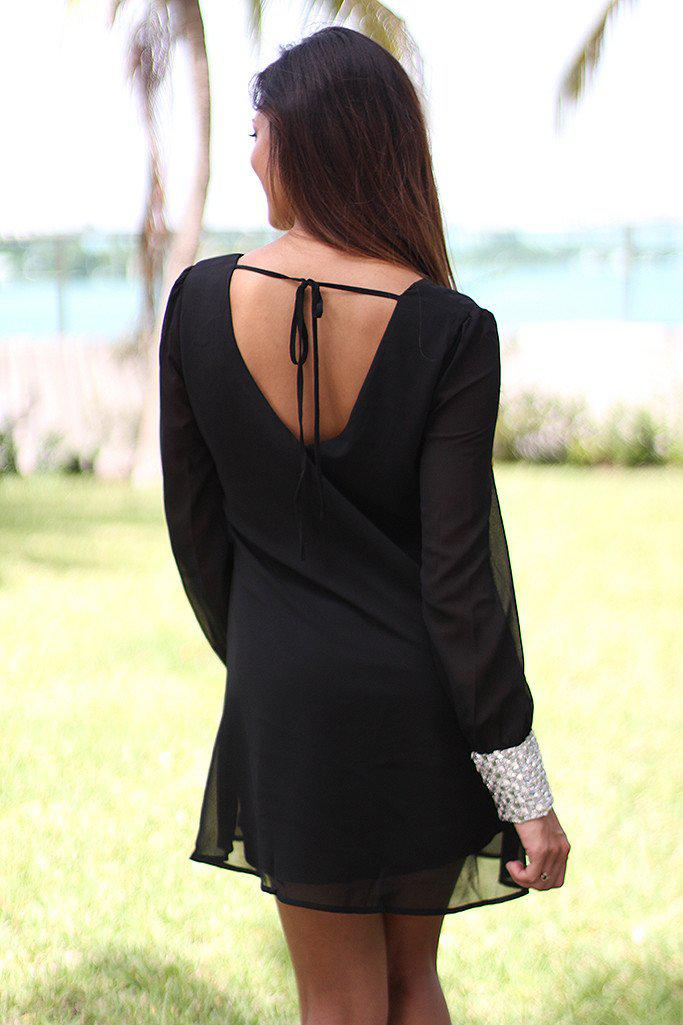 Black Tunic With Rhinestone Cuffs